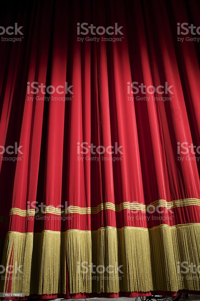 closed red curtain stock photo