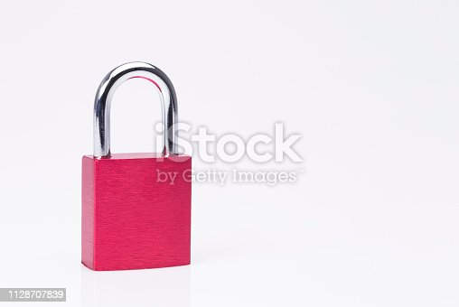 Red padlock closeup isolated on white background