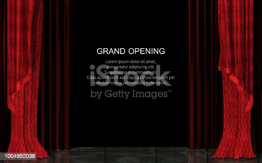 3d Illustration Closed Red Stage Curtain Realistic. Grand Opening Concept, Performance or Event Premiere Poster, Announcement Banner Template with Theater Stage