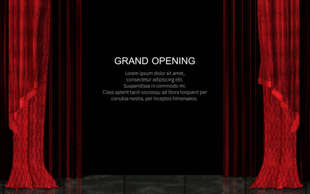 Closed Red Stage Curtain Realistic Grand Opening Concept stock photo
