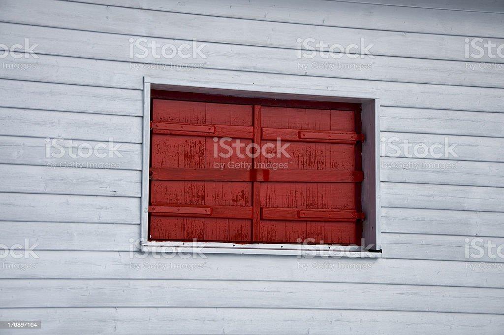 closed red window stock photo