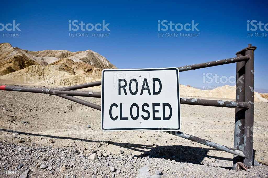 Closed Road Sign Death Valley USA royalty-free stock photo
