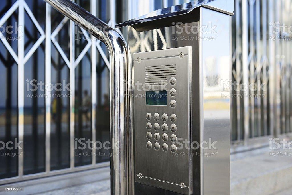 Closed. Security equipment, speaker, camera, entrance stock photo