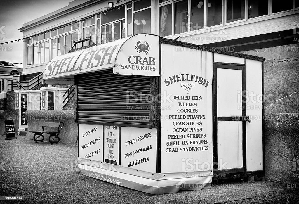 Closed shellfish stall at Hunstanton royalty-free stock photo