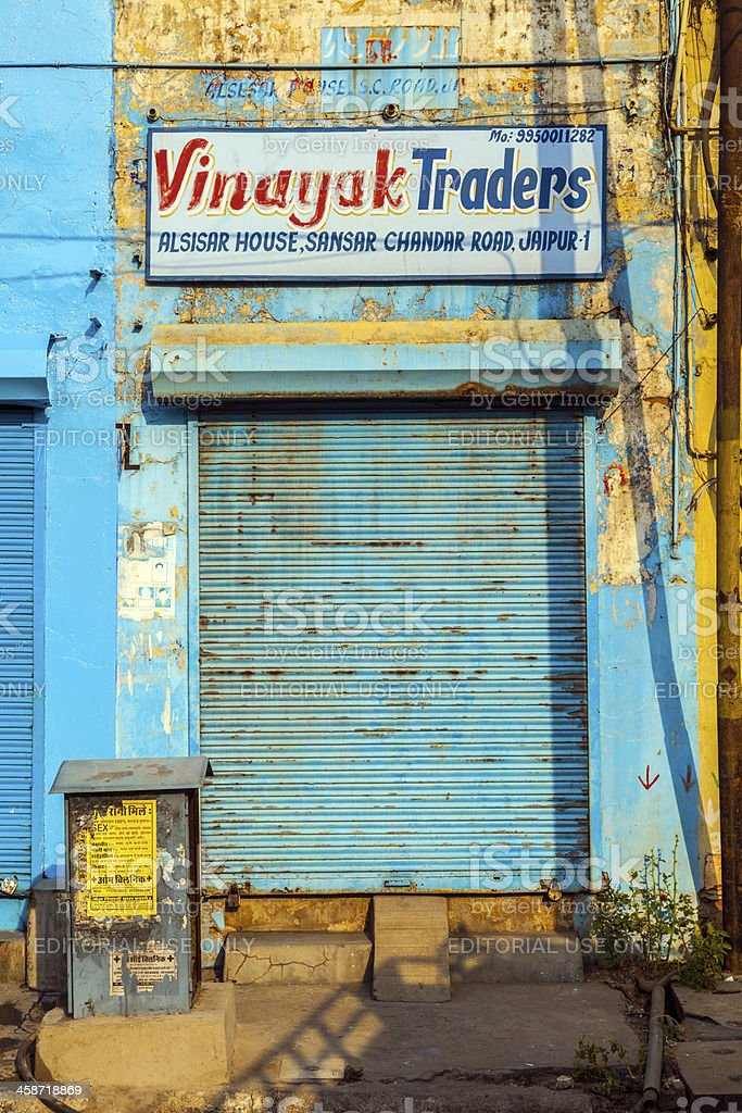 \'Jaipur, India - October 19, 2012: closed shops on Friday morning in...