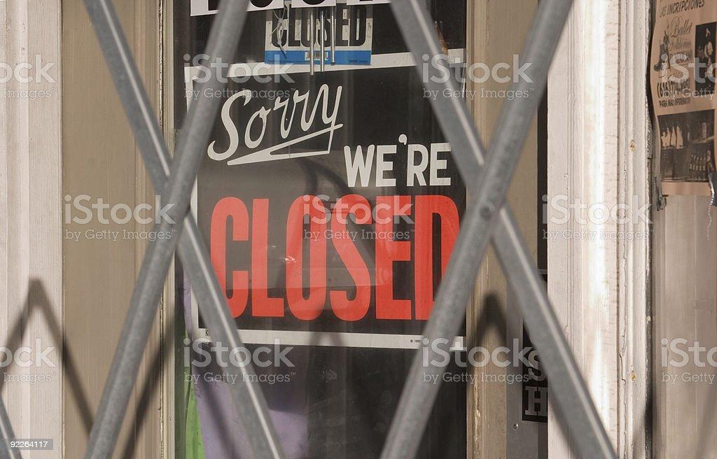 Closed sign behind metal gate  Behind Stock Photo