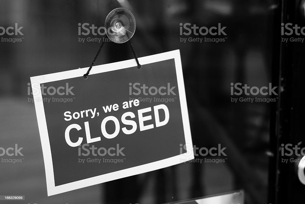 Closed sign black and white stock photo