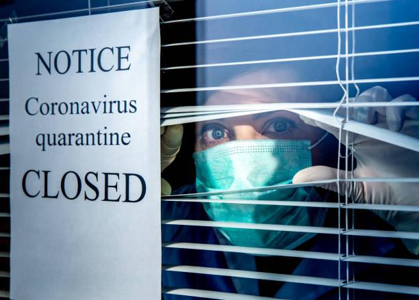 Closed sign notice and CoronaVirus Quarantine stock photo