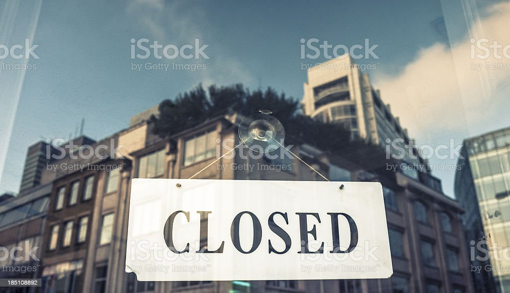 Closed sign on a window shopping in London royalty-free stock photo