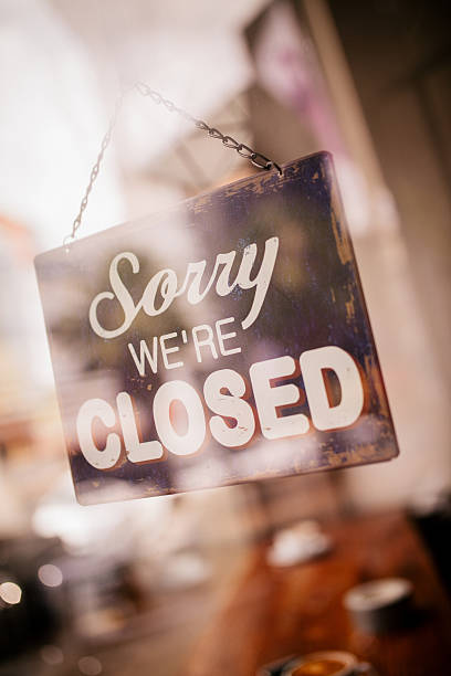 closed sign on glass door of coffee shop - closed stock photos and pictures