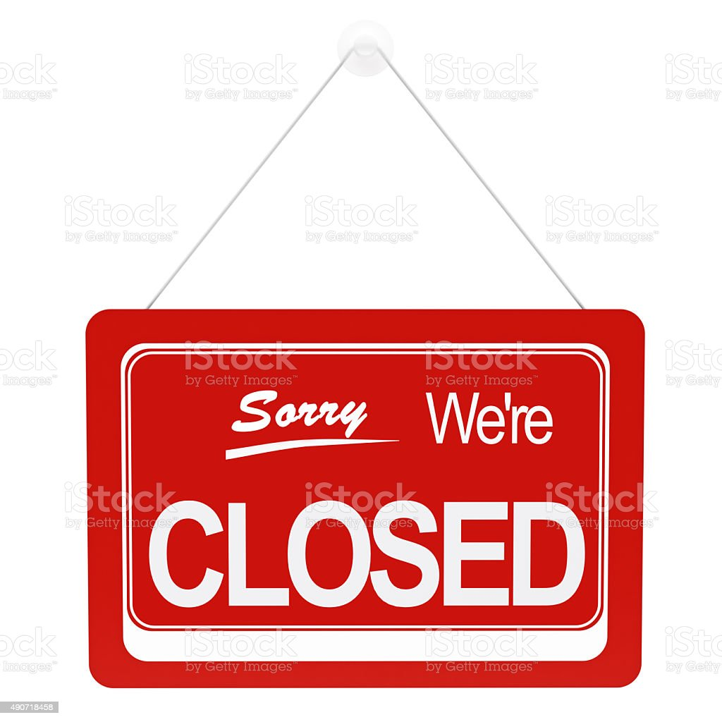 Closed Sign with clipping path stock photo