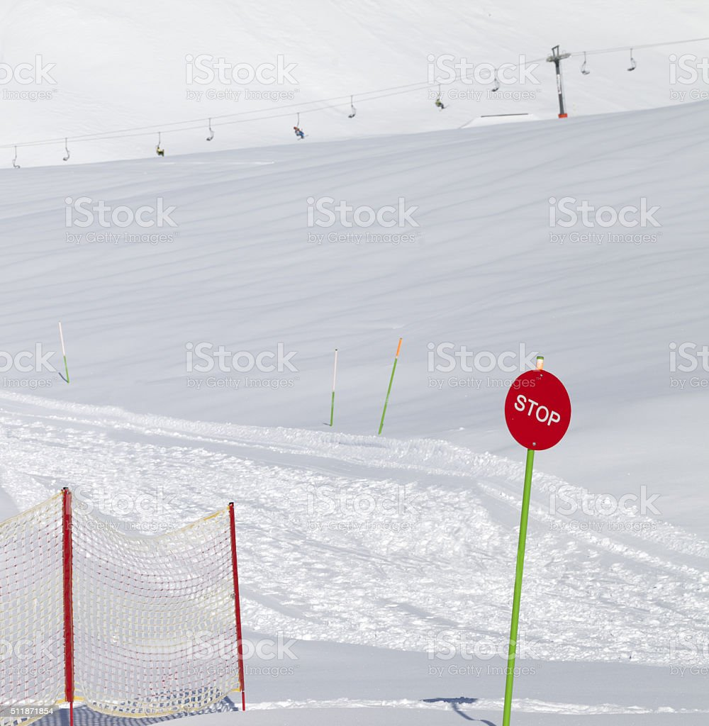 Closed ski slope with stop sign stock photo