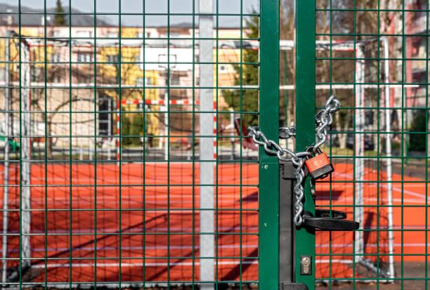 Closed sports ground due Coronavirus COVID-19 stock photo