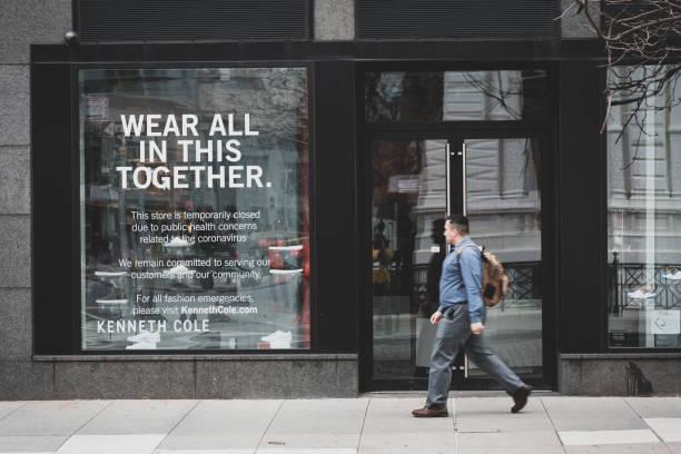 Closed store due to coronavirus in New York City stock photo