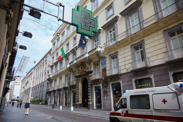 Closed stores and deserted streets following the lockdown in Naples, Italy. stock photo