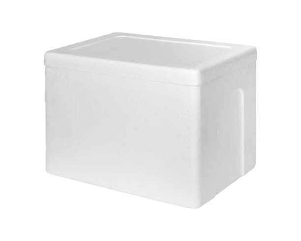 Closed Styrofoam storage box isolated on white background. Insulation box for delivery. ( Clipping path ) Closed Styrofoam storage box isolated on white background. Insulation box for delivery. ( Clipping path ) polystyrene stock pictures, royalty-free photos & images
