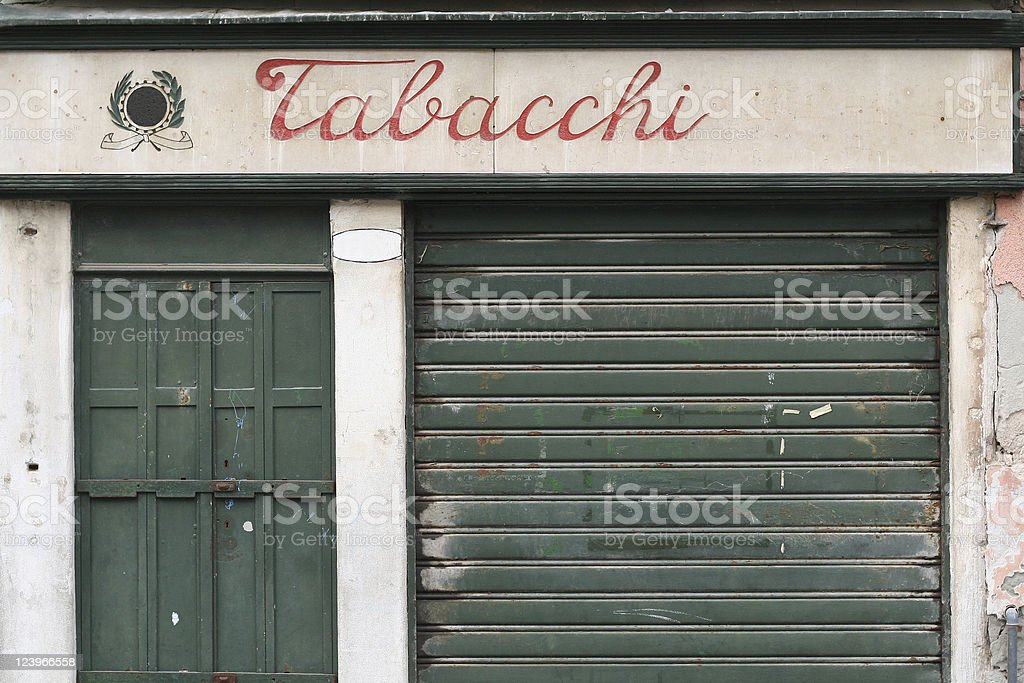 Closed tabac store stock photo