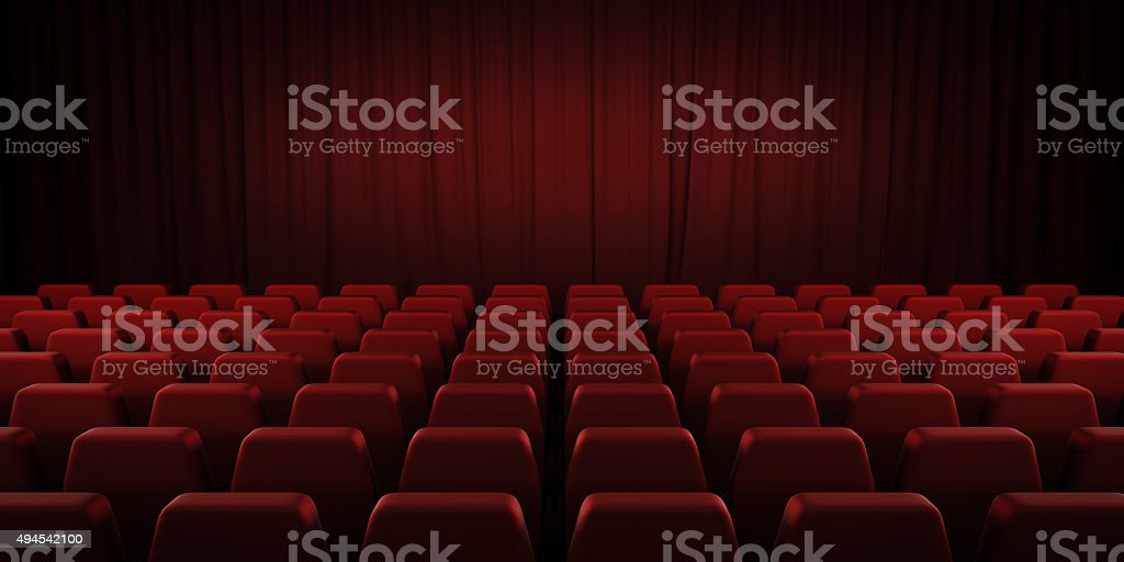 Closed theater red curtains and seats. 3d. stock photo