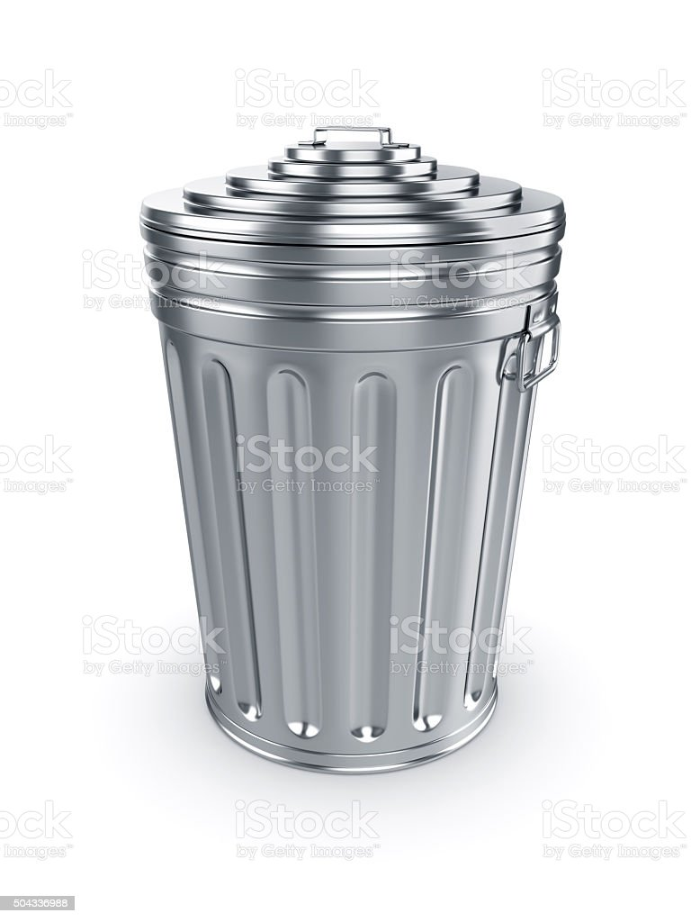 Closed trash can stock photo