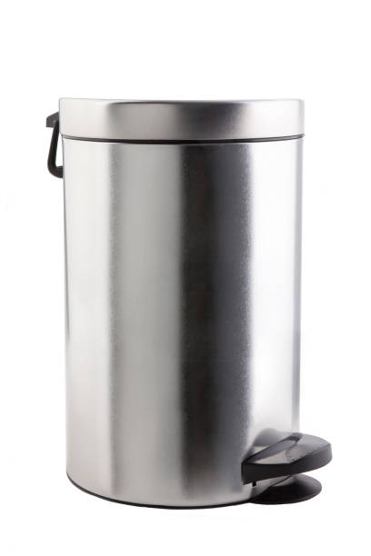 Closed trash can. stock photo