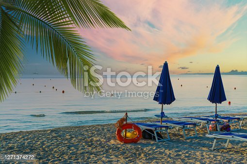Closed umbrellas on the beach with palm leaves on the beach at sunrise