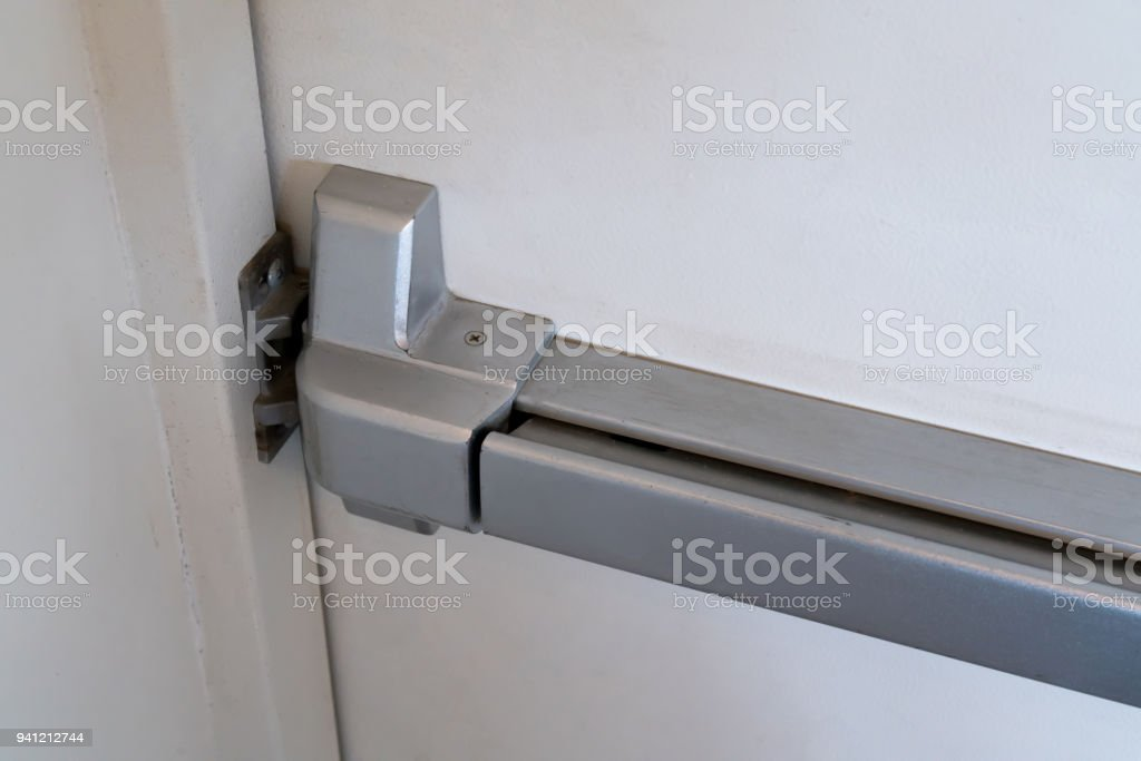 Closed Up Latch And Door Handle Of Emergency Exit Push Bar