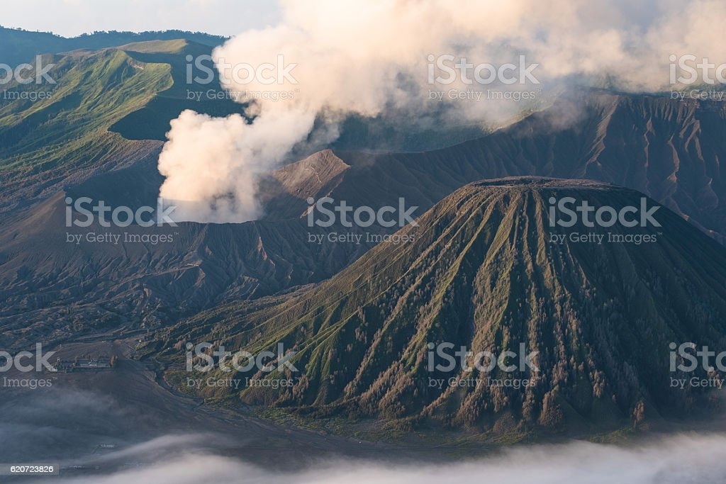 Closed up - mt.Bromo at dawn, Indonesia stock photo