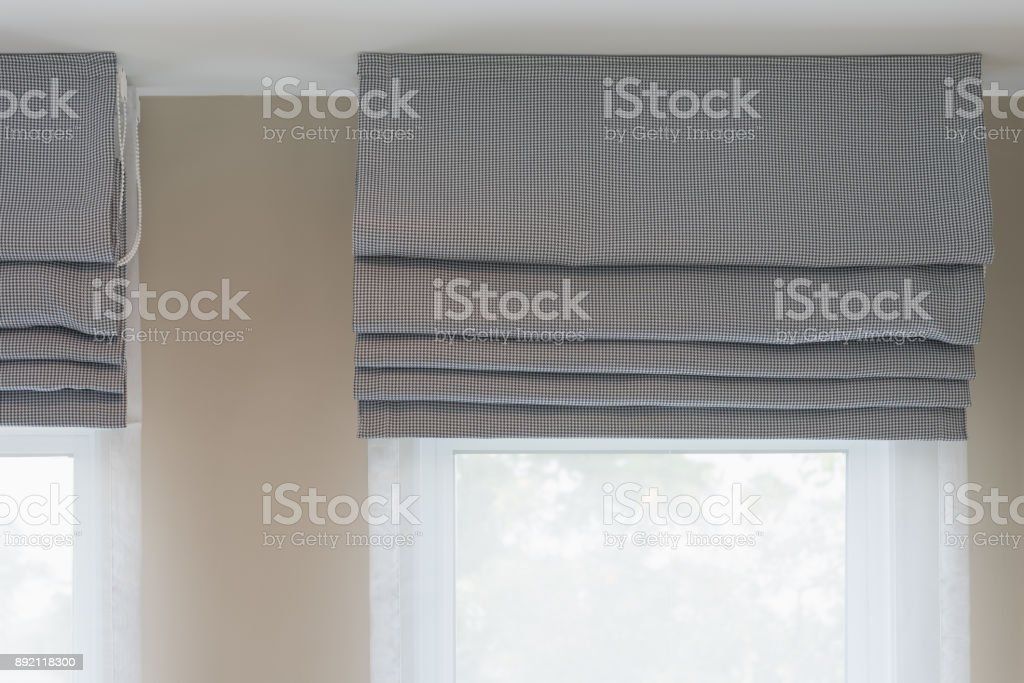 closed up of beautiful  grey curtain stock photo