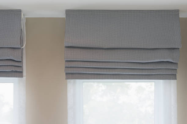 closed up of beautiful  grey curtain - roman stock photos and pictures