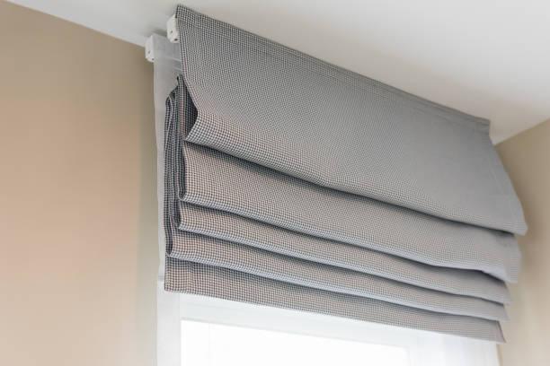 closed up of beautiful  grey curtain stock photo