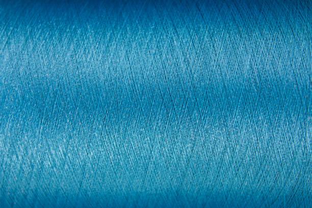 Cerrado de fondo de textura de hilo de color azul - foto de stock