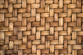 Closed up of brown color wooden weave texture backgroundt