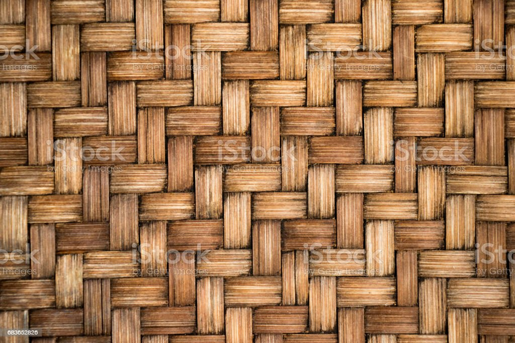 Closed up of brown color wooden weave texture backgroundt stock photo