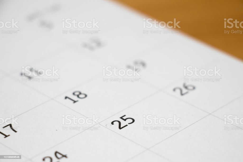 Closed up of day 25 on calendar background stock photo