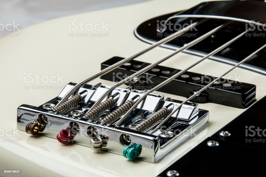 closed up of guitar bass stock photo
