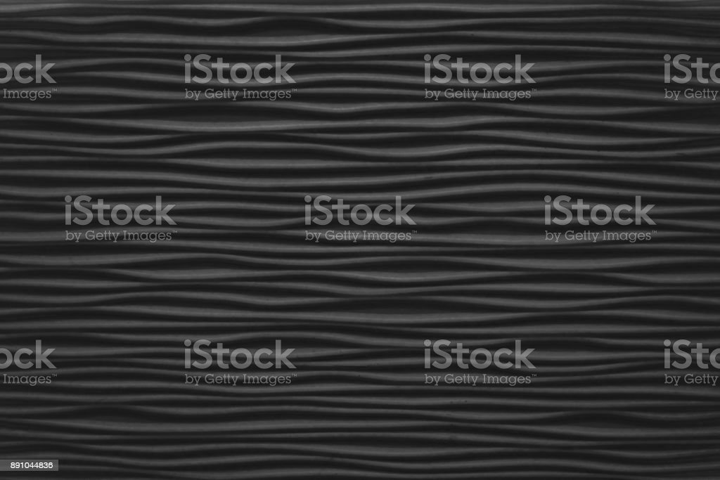 Closed Up of Horizontal Texture of Black Abstract Waves stock photo