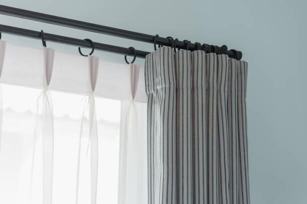 closed up of modern window curtain stock photo