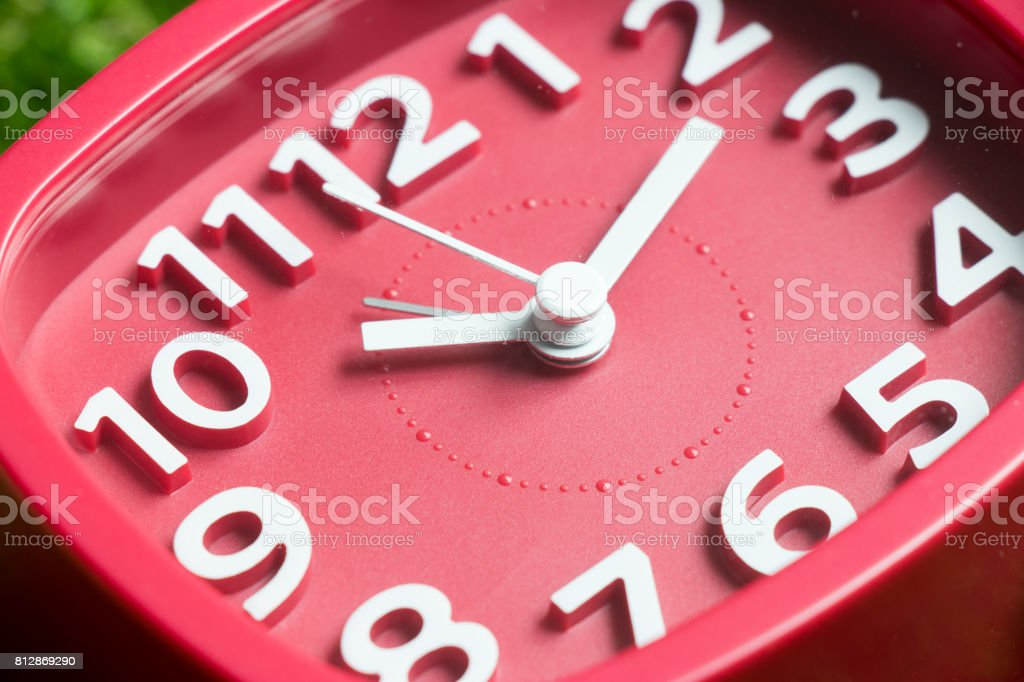 Closed Up Of Red Square Clock Stock Photo More Pictures Of Alarm