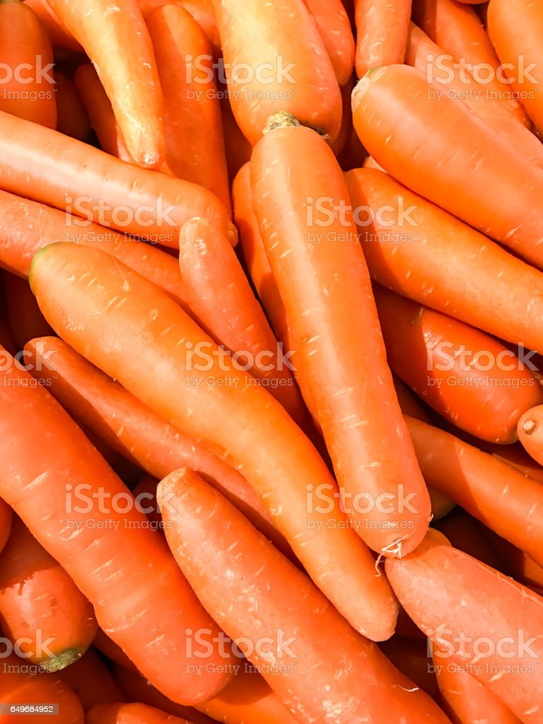 Closed up pile of carrot in the market stock photo