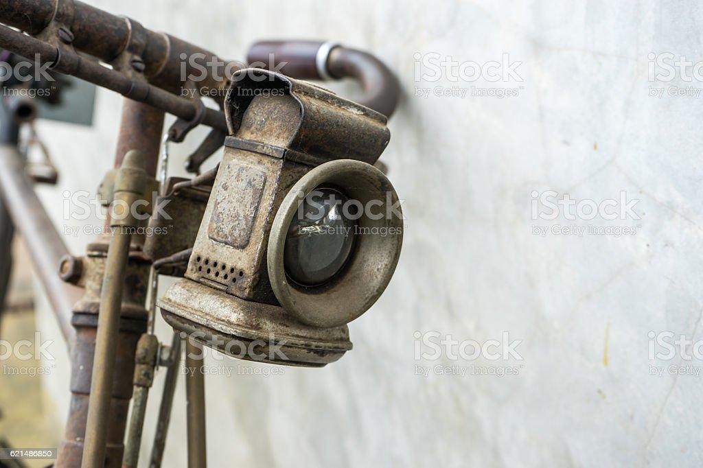 Closed up Vintage bicycle lamp Lizenzfreies stock-foto