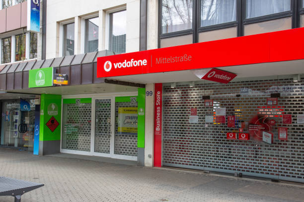 closed vodafone shops in the city center of Neuwied based on Corona pandemic