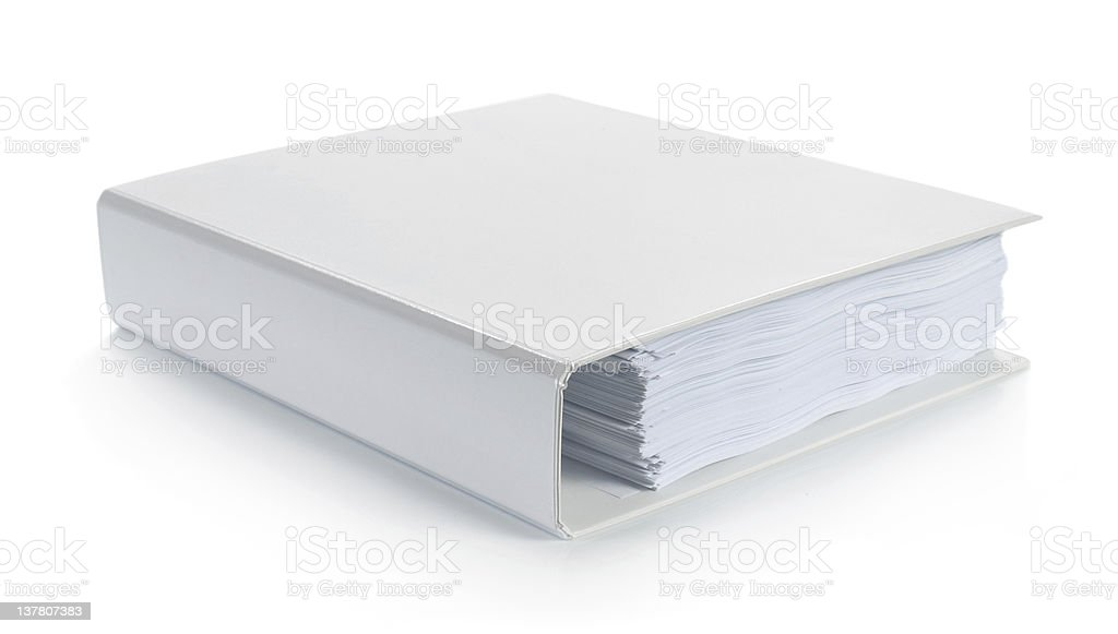 Closed white binder on a white background stock photo