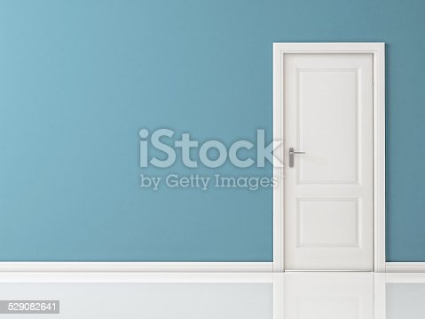 513735180istockphoto Closed White Door on Blue Wall, Reflective Floor 529082641