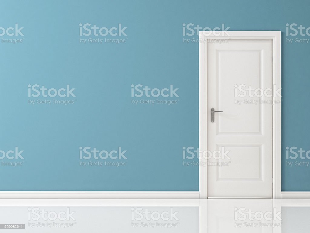Closed White Door on Blue Wall, Reflective Floor stock photo