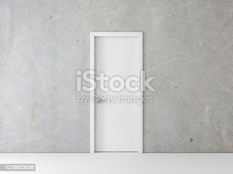 Closed White Door on concrete Wall, 3d rendering