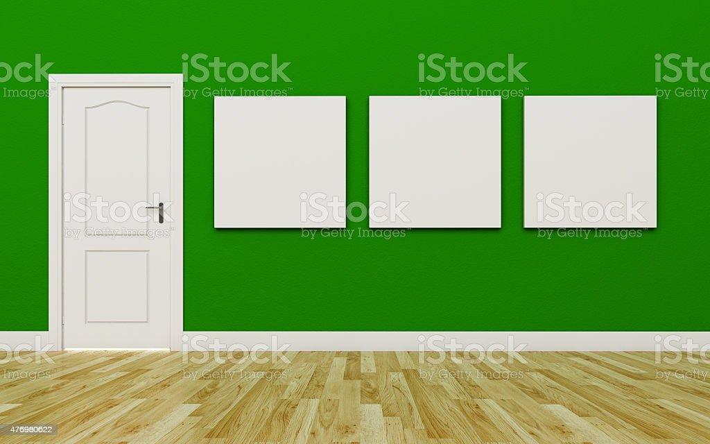 Geschlossene weiß Tür in der grünen Wand, drei leere poster - Lizenzfrei 2015 Stock-Foto