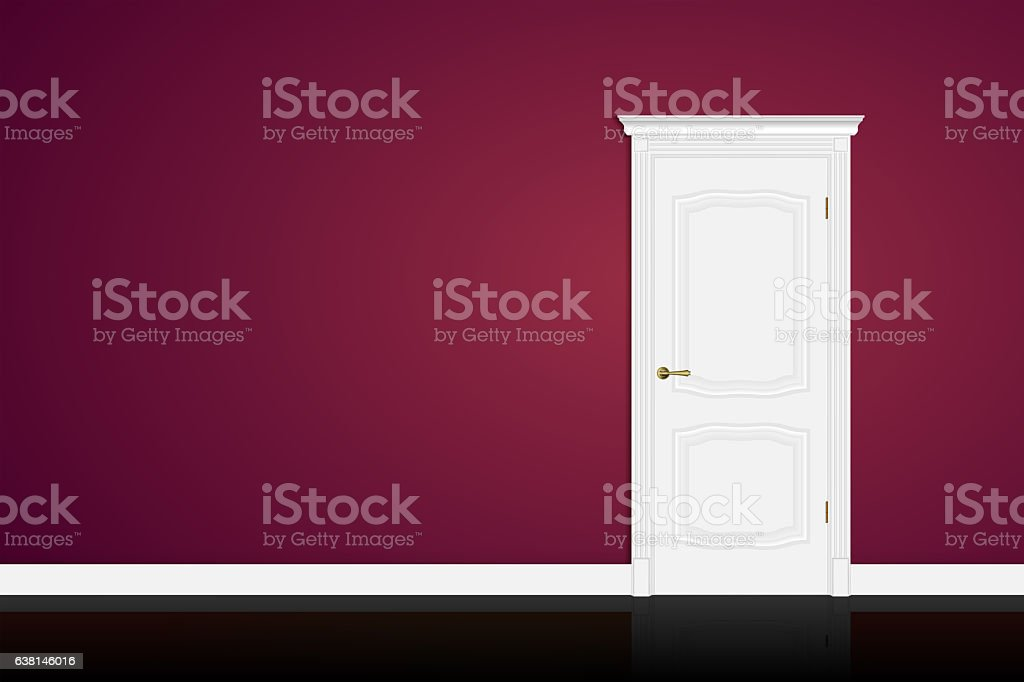 Closed white door on purple wall background. stock photo