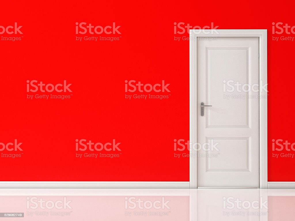 Closed White Door on Red Wall, Reflective Floor stock photo