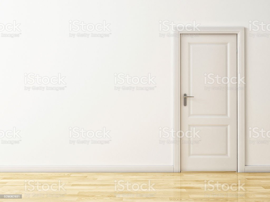Closed White Door on White Wall, Wooden Reflective Floor stock photo