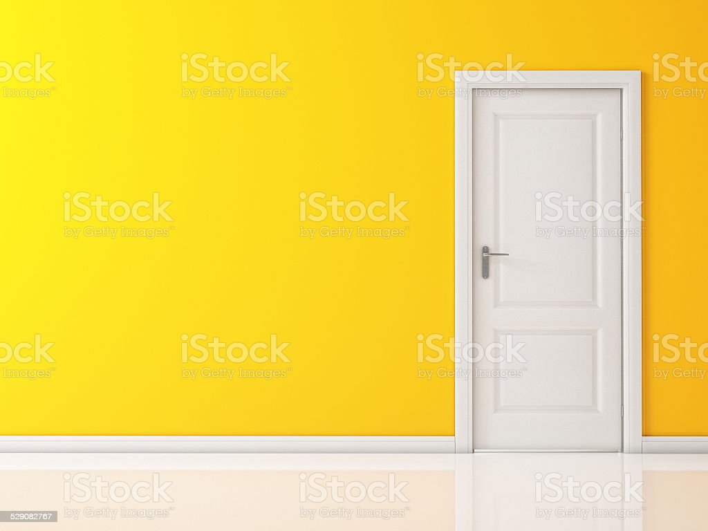 Closed White Door on Yellow Wall, Reflective Floor stock photo